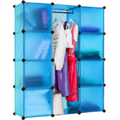 Dulap modular multifunctional transparent-bleu