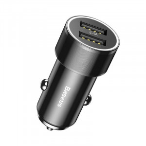 Incarcator Auto Type-C Baseus Small Screw 3.4A Dual USB Black (cablu inclus USB-C)