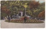 #2484- Romania, Pucioasa Bai c.p. circ. 1925: Aleia Parcului, fanfara, animata, Circulata, Fotografie