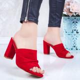 Papuci cu toc gros dama rosii Gerida-rl