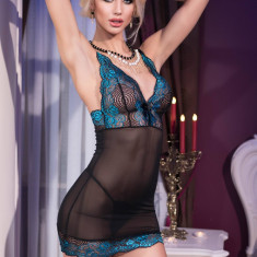 Babydoll Sexy Si Chilotei String, Negru Cu Turcoaz, S