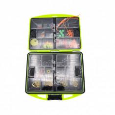 Kit accesorii pescuit, 24 compartimente, 186 piese, cutie de culoare verde