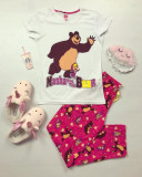 Pijama dama bumbac ieftina cu tricou alb si pantaloni lungi roz cu imprimeu MS