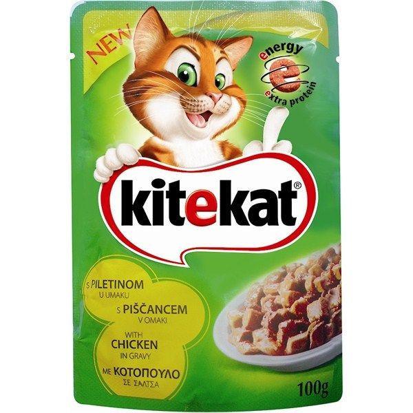 Hrana umeda pentru pisici, Kitekat, cu Pui, 100 g