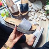 Papuci Derami argintii cu talpa groasa -rl
