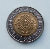 ITALIA  -  500 Lire 1993  -  Bank of Italy Centennial