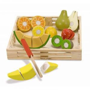 Set fructe lemn pentru taiat Melissa & Doug, 17 piese