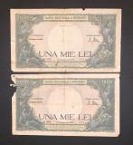 Doua bancnote de 1000 de lei din 10 octombrie 1944