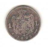 SV * Romania  1  LEU  1885  ARGINT .835 * Regele Carol I  *  Relativ RARA !