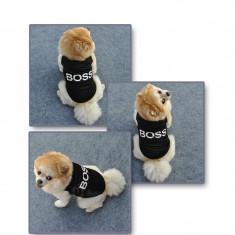 """Vesta pentru caini cu imprimeu """"Boss"""",marimea S, bumbac, negru"""