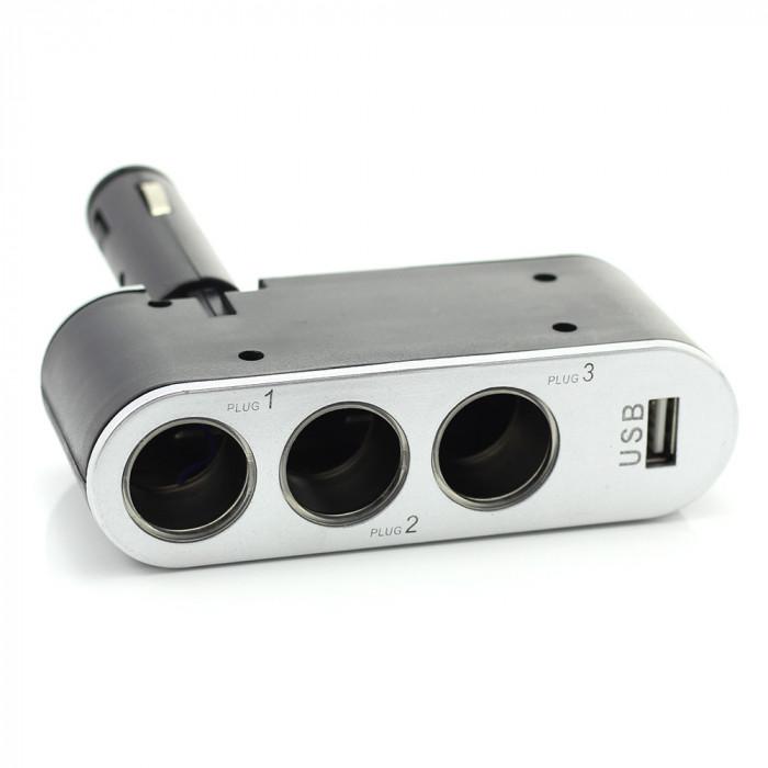 Priza tripla pentru bricheta auto + USB 1A Best CarHome