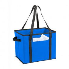 Geanta organizator, pliabila, pentru portbagaj, 340×280×250 mm, Everestus, 20FEB13451, Material netesut, Albastru, saculet inclus