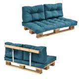 Garnitura completa mobilier paleti Model A - 1 x europalet, 1 x perna sezut, 2 x perne spate, 1 x suport spate - turcoaz