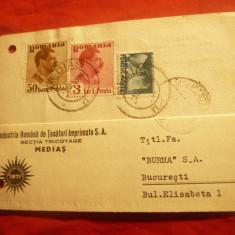 Carte Postala Comerciala Antet Ind.Romana Tesaturi... Medias 1937