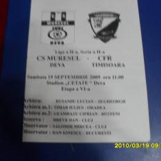program      Muresul  Deva   -  CFR  Timisoara