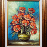 Maci in vas de lut, pictura originala semnata Ion VOINEAGU, Flori, Ulei, Impresionism