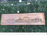 Panoplie,tablou german in basorelief din cupru,scena cu osteni,semnat