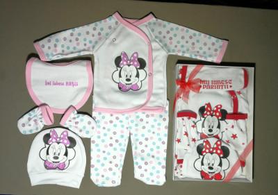 Set 5 piese pentru bebe Mini Mouse, fabricat în România - rosu foto