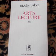 N. Balota - Arta lecturii - cu dedicatia autorului