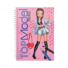 Carnetel de colorat Top Model Depesche, coperta 3D, 18 x 13 cm, roz