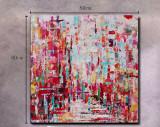 Tablou abstract 80x80 Tablou pictat manual ulei pe panza