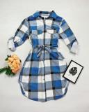 Cumpara ieftin Rochie ieftina casual stil camasa albastru deschis cu gri si alb cu carouri si cordon in talie