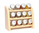 Set 12 recipiente cu condimente si suport suspendabil Compact Natural - GALD, Crem