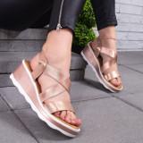 Sandale cu platforma dama aurii Lindolia