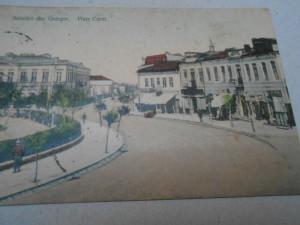 Carte postala Giurgiu, Piata Carol, circulata, animata, color, 1912