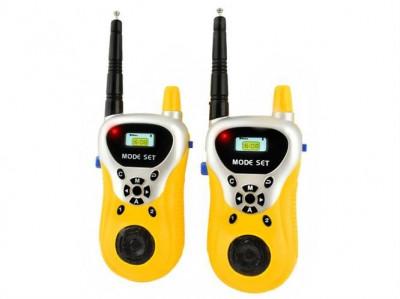 Set statie portabila Walkie-Talkie PMR, Emisie Receptie cu Afisaj, Raza Acoperire 100m, culoare Galben foto