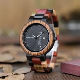 Cumpara ieftin Ceas din lemn Bobo Bird multicolor cu curea din lemn, P14-1