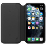 Husa de protectie Apple pentru iPhone 11 Pro Max, Leather Folio - Black
