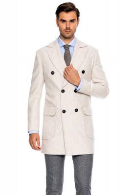 Palton barbati crem la doua randuri de nasturi B171 foto