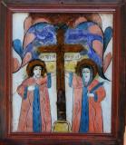"""Sf. C.tin cu Elena, Icoană """"Nicula"""" pictată pe sticlă (glajă)"""