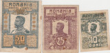 ROMANIA 10, 25, 50 BANI 1917 FERDINAND VF
