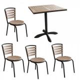Set terasa,bistro masa patrata POLYWOOD NATURAL 70x70x72cm cu 4 scaune 77x40cm B003037-95317-95311 Raki
