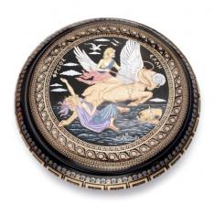 Caseta Bijuterii Lucrata Manual cu Foita de Auriu24k -diametru 8cm Cod Produs 295
