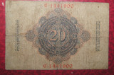 Bancnota autentica 20 mark din 10 03 1906 Germania foarte rara seria C 1441900