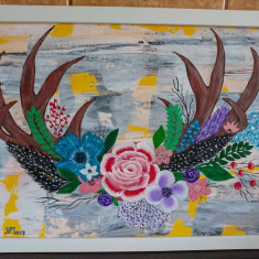 "Tablou pictura acrilica""Trofeu Salbatic"""