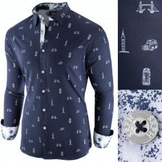 Camasa pentru barbati, bleumarin, slim fit, casual - London Town Cool, 3XL, L, M, S, XL, XXL, Maneca lunga