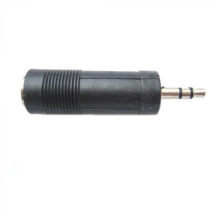 Adaptor Jack 3.5 mm Tata - Jack 6.3 mm Mama, Model Negru, pentru Sisteme Audio