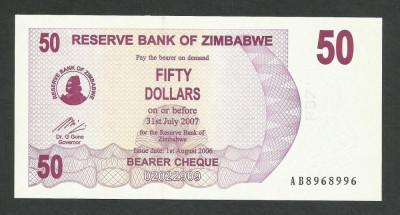 ZIMBABWE  50  DOLARI  DOLLARS  2006  2007  UNC   [1]  P-41  ,  necirculata foto