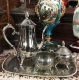 Serviciu de cafea vintage, argintat, format din 4 piese : tava + letiera + zaharnta, Cadou 1 x Letiera