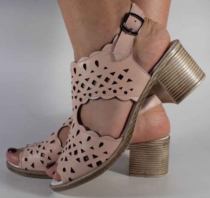 Sandale roz piele naturala (cod 196038)