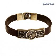 Bratara piele maro cu elemente Yin și Yang