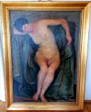 Tablou autentic scoala Baia Mare, Nud, Ulei, Impresionism