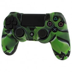 Pro Soft Silicone Protective Cover With Ribbed Handle Grip Camo Green Ps4