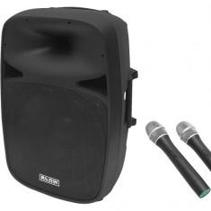 Boxa Portabila Activa Bluetooth Blow cu Amplificator Incorporat, Putere RMS 70W, Subwoofer 15 Inch, USB, Card SD, Telecomanda, 2 Microfoane Wireless