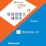 Cumpara ieftin DVD nou Windows 10 Home + Office 2016, licenta originala Retail, activare online, Microsoft
