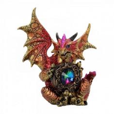 Statueta dragon cu cristal Gardianul Curcubeului 15 cm